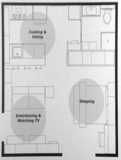 240 Sf Floor Plan U2013 Studio W/ Combined Living Room And Bedroom This  Mini Studio Includes A Futon That Converts From Couch To Bed, While The  Small Dining ...
