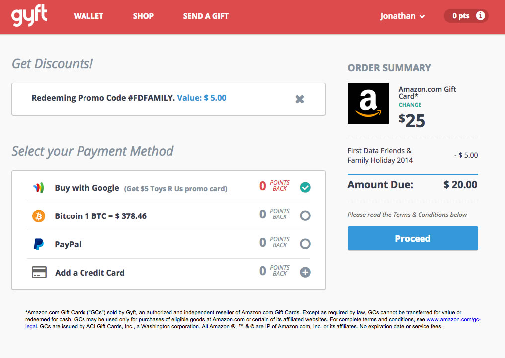 Gyft: $40 in Amazon Gift Cards for $30 — My Money Blog