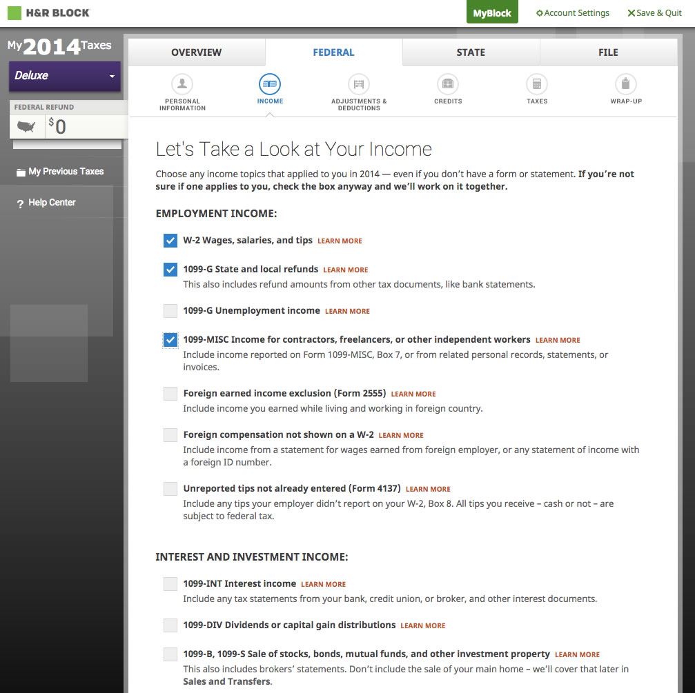 Hr block online review 2014 tax year features and screenshots hrb20144 falaconquin