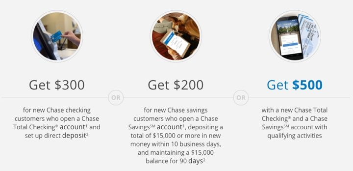 Chase Total Checking $300 + Savings $200 Bonus ($500 Total)