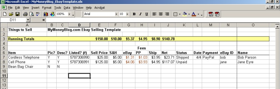 My EBay Selling Template In Microsoft Excel My Money Blog - Ebay item template