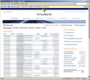 VirtualBank Screen Capture