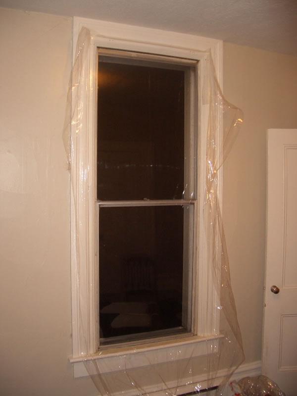Winter window plastic bottom edge