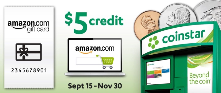 Coinstar Promo: Redeem $30 of Coins Into Amazon Gift Card, Get $5 Bonus Credit