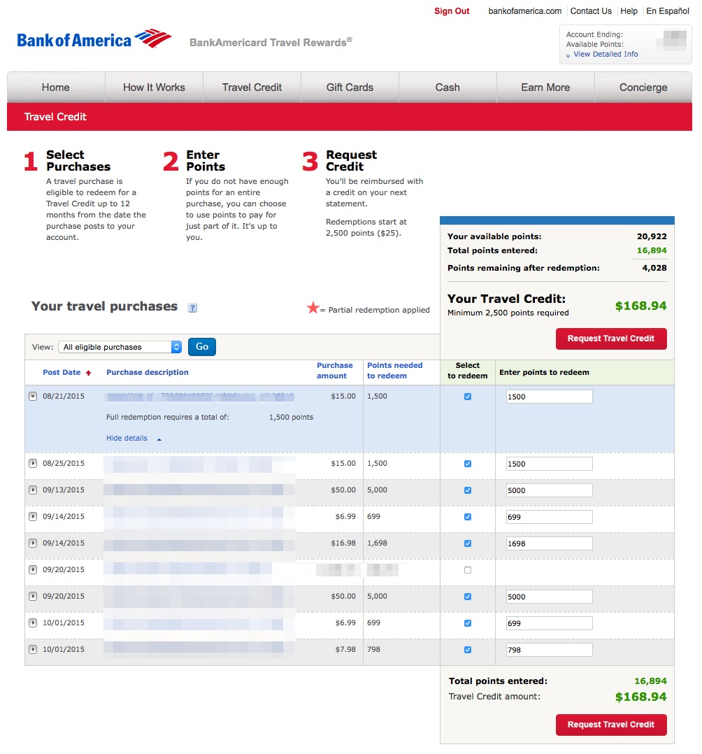 Bankamericard Travel Rewards 174 Credit Card Redemption Tips For 2 625 Back My Money Blog