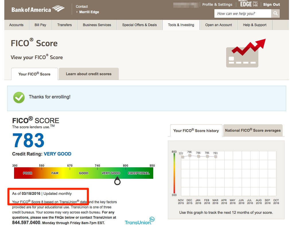 credit score for bank of america personal loan