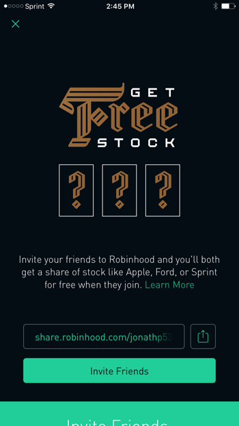 how to get robinhood free stock