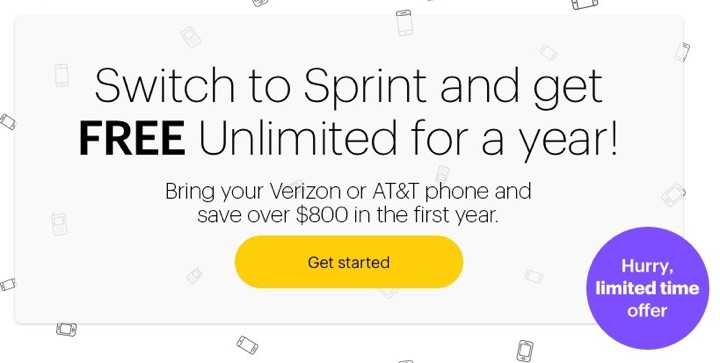 sprint one year of free unlimited data plan get free service