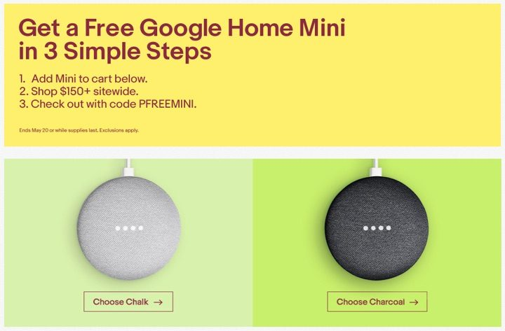 Get free google home mini