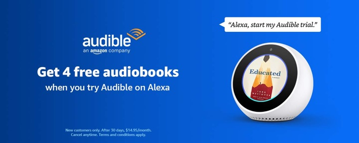 Audible Trial via Amazon Echo, Get 4 Free Audiobooks