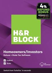 H&R Block Desktop Tax 2019: Federal + State $22.49 (50% Off)
